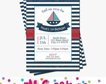 Nautical Birthday Party Invitation - Anchor Birthday Party Printable Invite - Sail Boat Digital Invitation - Baby Shower Invitation