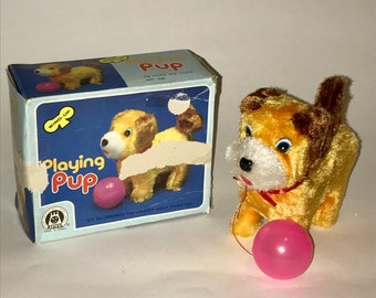 Vintage 1980s Wind Up Toy Dog Plush Original Box Korea Playing Pup
