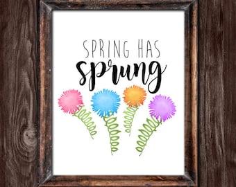 Spring Has Sprung Digital 8x10 Printable Poster Punny Nature Flowers Puns Springtime Pun Flower Floral Season Pretty Plants Garden Funny Art