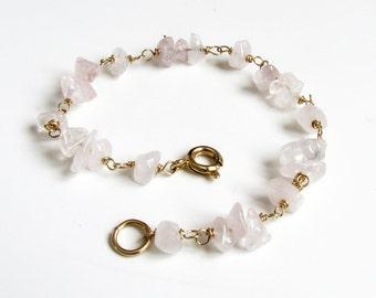 Bridesmaid gift Gold bracelet Minimal bracelet Rose quartz bracelet Gemstone bracelet Taurus birthstone Pink bracelet Womens gift For her
