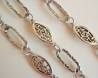 3 Ft. Beautiful Handmade Antique Silver Chain with Filigree Oval & Open Rectangle, Jewelry Making Supply, Alloy Chain