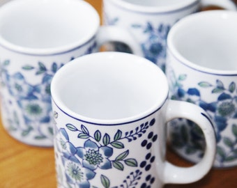 Set of 4 Chinese Coffee Mugs, Blue & White , Chinoiserie , Mint Condition