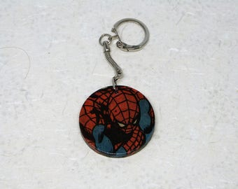 Round key Spiderman shown double-sided, vintage, round keys Spider-Man Marvel 1983 - Carry, both sides, vintage Marvel comic we 1983