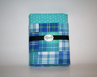 Blue plaid flannel baby blanket, baby boy, reversible blanket, baby shower gift, baby blanket, ready to ship, receiving blanket
