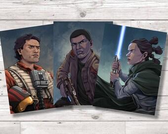 Star Wars The Force Awakens / The Last Jedi Character Art Prints