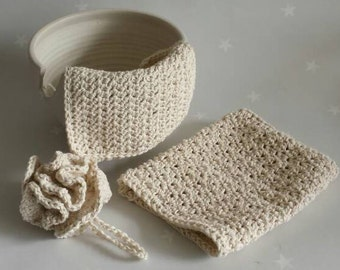 Natural cotton wash set, eco friendly, vegan friendly, pure cotton bath pouf, bath mitt, face cloth, made from undyed unbleached cotton