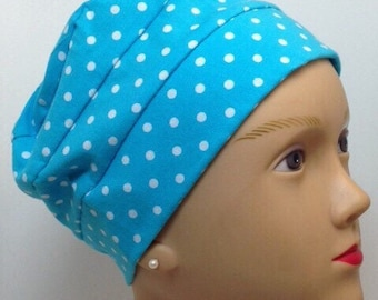 100% Cotton Adult Dots on Turquoise Jersey Knit Hat