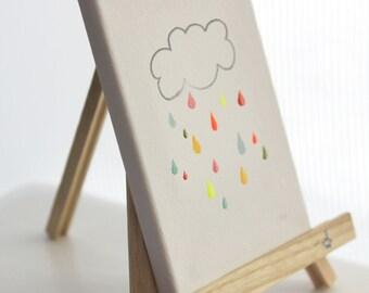 personalized original canvas art - rainbow drops