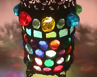 Gothic Stained Glass - The King's Candle Holder - Heavy Mosaic Glass and Metal