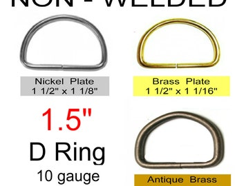 "20 PIECES - 1 1/2"" - NON Welded D Rings, 1.5, 38mm - 1 1/2 inch - Antique Brass, Nickel or Brass Plate"