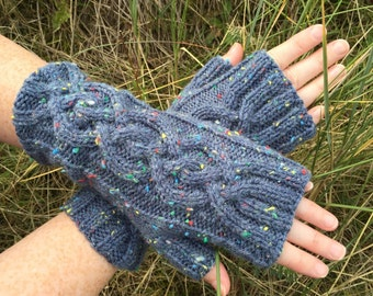 Blue Fingerless Mittens,Mittens,Mitts,Fingerless Gloves,Handknitted Mittens,Handknitted Gloves,Gloves,Cable Pattern Mittens,Wrist Warmers