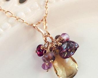 Topaze jaune collier, Collier or, bas de Noël, cadeau pour elle, Pearl, AAA pierres précieuses, grenat, Pierre de naissance janvier