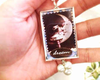 Vintage Style Inspirational Double Sided Glass Pendant. Fairy Girl. Believe. Moon Child. Dream. Silver. White Pearls. Message Jewelry. Cute