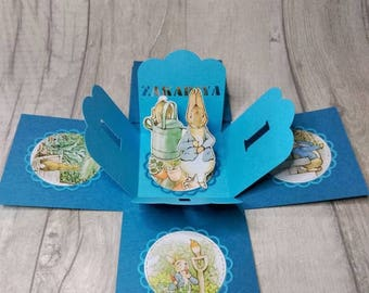 Personalised. Birthday card.  Peter Rabbit.  exploding box card.  pop up card. Girls.  Boys. 1st.