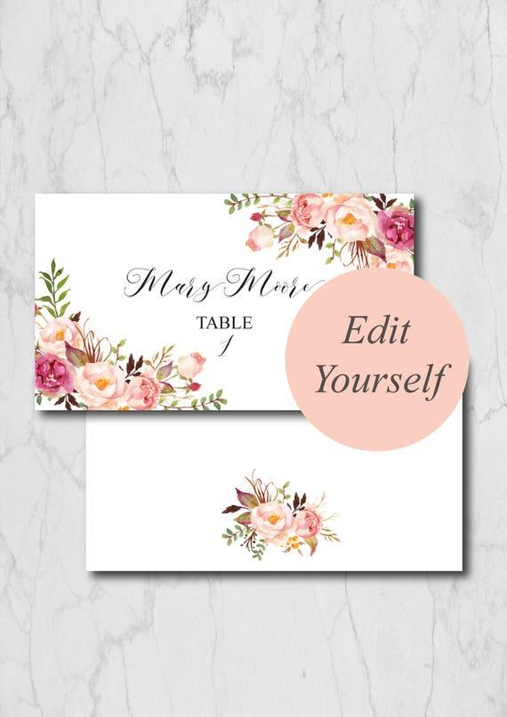 Boho Chic Place Card Template Blush Wedding Place Cards - Folded place cards template