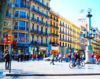 Barcelona Boulevard Spain - 8x10 Photograph