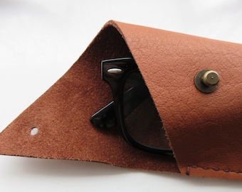 Spectacle Pouch Soft Leather Handmade Tan