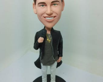 Singer Personalize Bobble Head Clay Figurine Boyfriend Gift Husband Gift Son Gift Boyfriend Birthday Cake Topper Father's Day Gift Bday Gift
