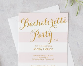 Bachelorette Party Invite - Blush stripes and Gold calligraphy - Invitation Printable - Editable PDF - Instant Download -5x7 inches -#GD2603