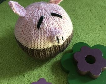 Knitted Piggy ball medium softie