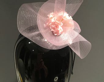 Pink Fascinator- Mini Derby headband - Wedding- Rose Headpiece -Flower Fascinator- Floral Headpiece- Kentucky Derby- Tea Party