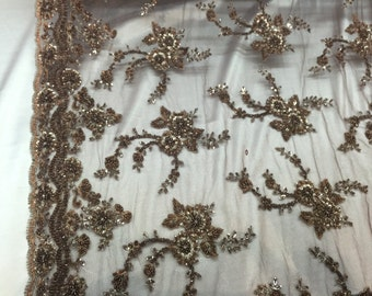Brown flowers french design-embroider and beaded on a mesh lace fabric-wedding-bridal-prom-nightgown-sold by the yard-