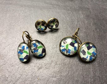 Jewelry blue and green geometric pattern necklace, ring, studs, earrings, barrette, creation bronze glass cabochon cufflinks