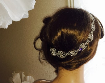 Bridal crystal headband, wedding headwrap, crystal headwrap, bohemian style wedding headwrap