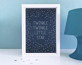 Baby Art Print, Twinkle Twinkle Little Star - Nursery Decor, Lullaby, Baby Room, Typography, Stars, Sky