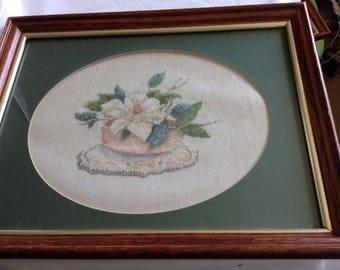 Crewel Embroidered Flower Framed picture
