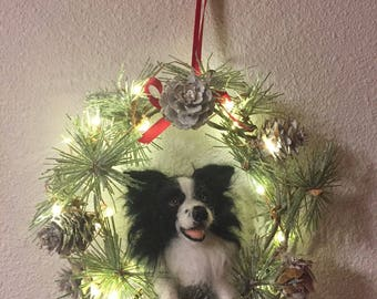 Custom Made Needle Felted Christmas Wreath Ornament of your pet/Border Collie