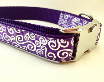 Dog Collar, Purple Swirls, 1 inch wide, adjustable, quick release, metal buckle, chain, martingale, hybrid, nylon
