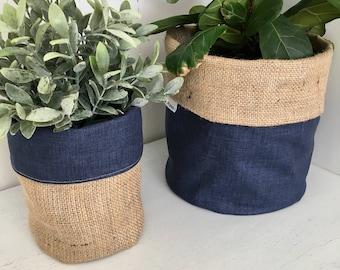 Indigo Blue Denim Hessian Planter Bag