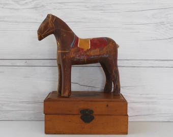 Vintage Wood Hand Painted Folk Art Horse , Vintage Carved Wood and Painted Horse