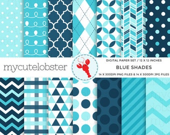 Blue Shades Digital Paper Set - polka, stripes, chevron, triangles, patterned paper - personal use, small commercial use, instant download