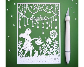 "Personalized Papercut -Magic Garden 5x7"" Paper Cut Illustration - Add Your Name"