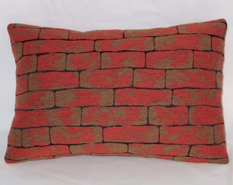 "Brick Wall Pillow Cover, Rust Red Orange Brown Black, Trompe L'oeil, 12 x 18"" Rectangle Oblong, Ready to Ship, Dorm Decor"