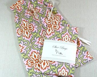 Shoe Bags, Travel, Lingerie, Pink, green, gray, Boho, set of 2, laundry
