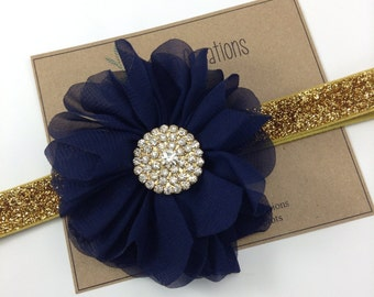 Navy & Gold Headband Headband Ballerina Flower Headband Glitter Wedding Flower Girl Headband Rhinestone