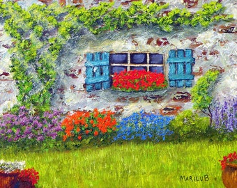 Oil Painting, cottage, garden, original art