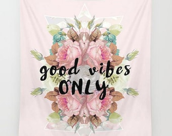 quote art wall hanging- typographic art wall tapestry- pink- light green-black- inspiring words art- home decor- dorm decor- floral design