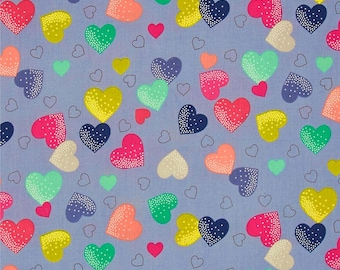 Hearts on Grey from Makower UK's Fantasy Collection by The Henley Studio