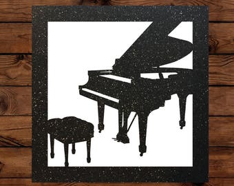 Sparkly Papercut Piano Greeting Card