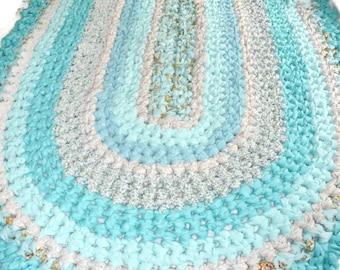 "Crochet Rag Rug 32"" X 52"" Handmade Oval  Cotton Crochet Rug Assorted Turquoise Aqua and Floral Ready to Ship"