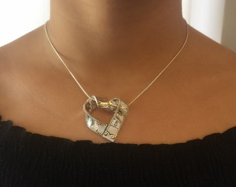 Silver Heart Necklace, 925 Sterling Silver Snake Chain