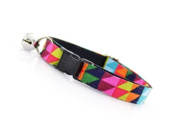 """Modern Cat Collar - """"Shadow Play"""" - Geometric Technicolor Triangles - Breakaway Safety Buckle or Non-Breakaway - Sizes for Cats & Small Dogs"""