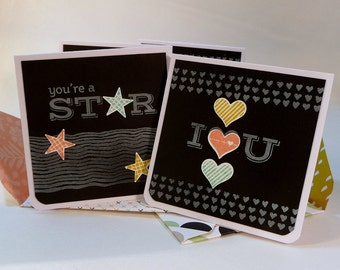 Mini note cards, with, patterned handmade envelopes, set of 4, 3 inch square, chalkboard, lunch box notes, love notes, hand stamped