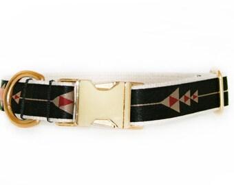 Modern black dog collar, adjustable, arrow pattern, brass hardware