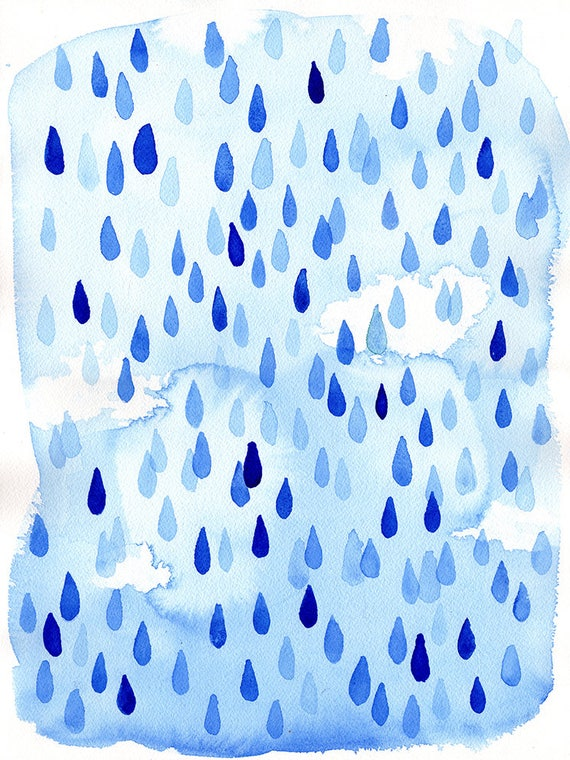 Raindrops Archival Wall Art Print Kids Decor Blue
