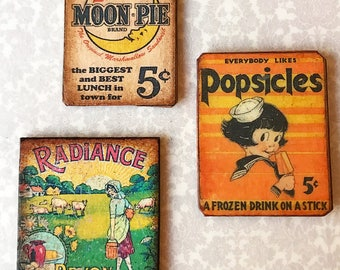 """1:12 miniature dollhouse yummy Vintage """"TIN"""" sign MOON PIE~Popsicle~toffee"""